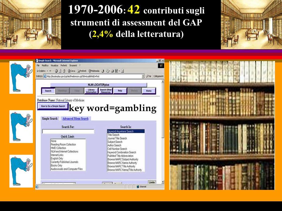 1970-2006: 42 contributi sugli strumenti di assessment del GAP