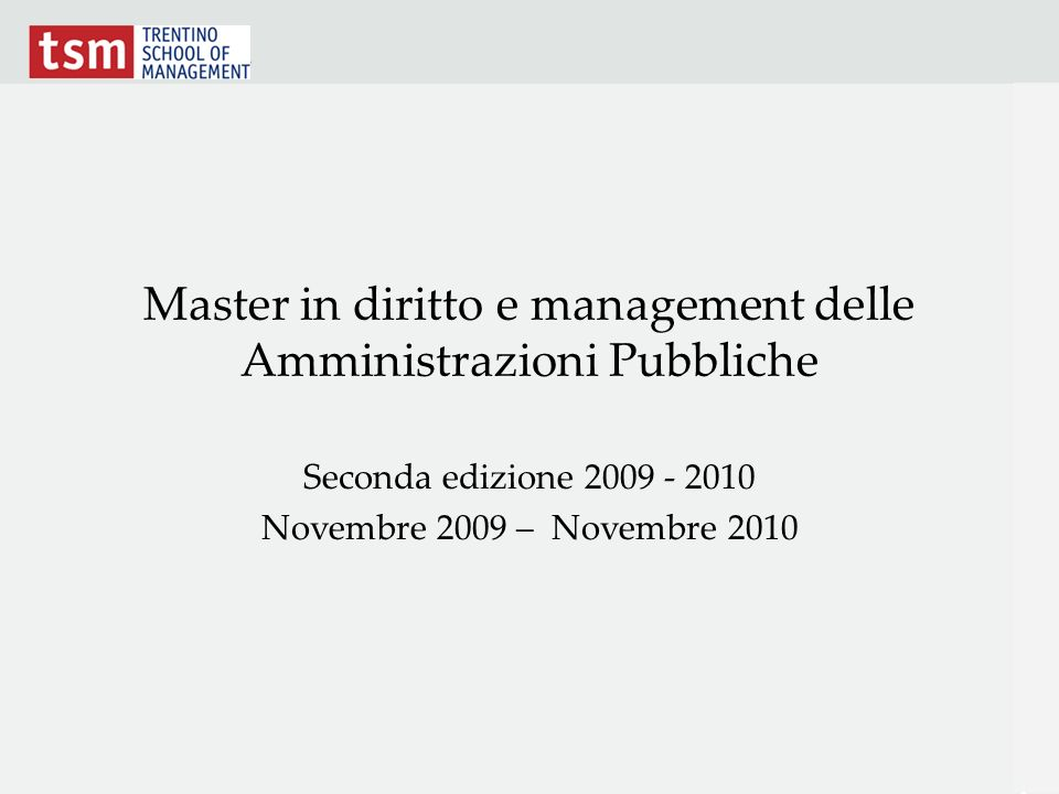 Master in diritto e management delle Amministrazioni Pubbliche