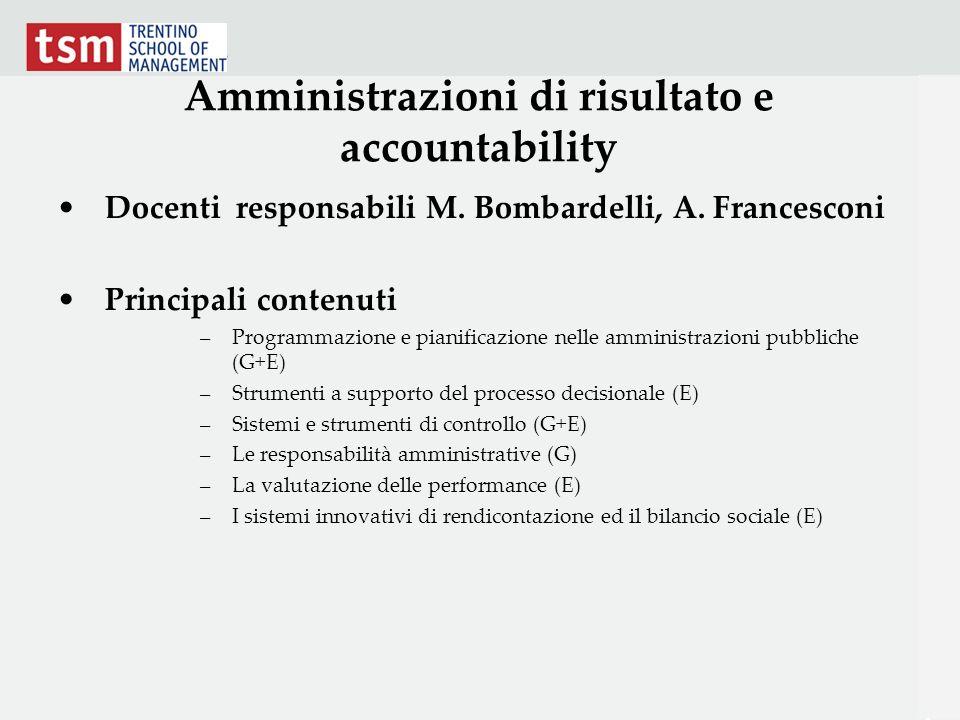 Amministrazioni di risultato e accountability