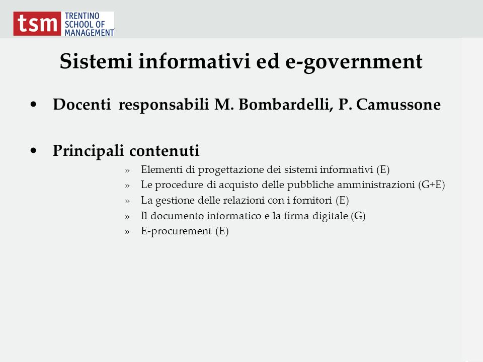 Sistemi informativi ed e-government