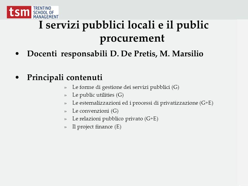 I servizi pubblici locali e il public procurement