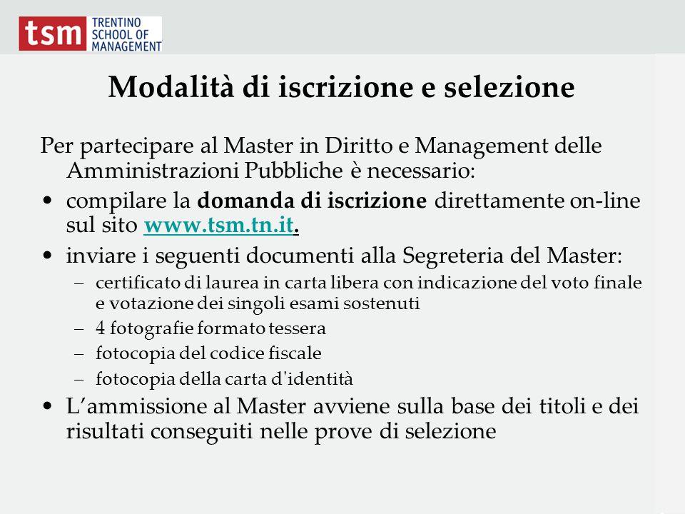 Modalità di iscrizione e selezione