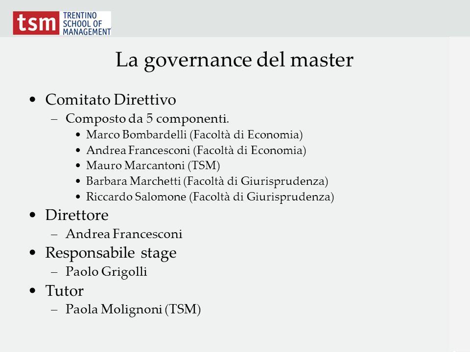 La governance del master