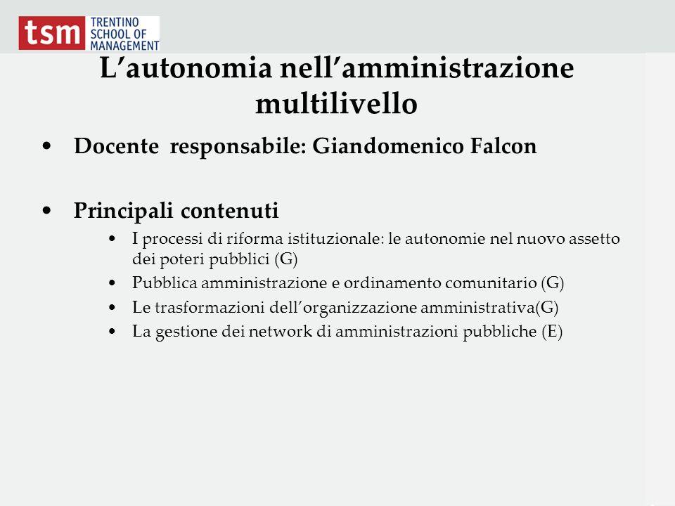 L'autonomia nell'amministrazione multilivello