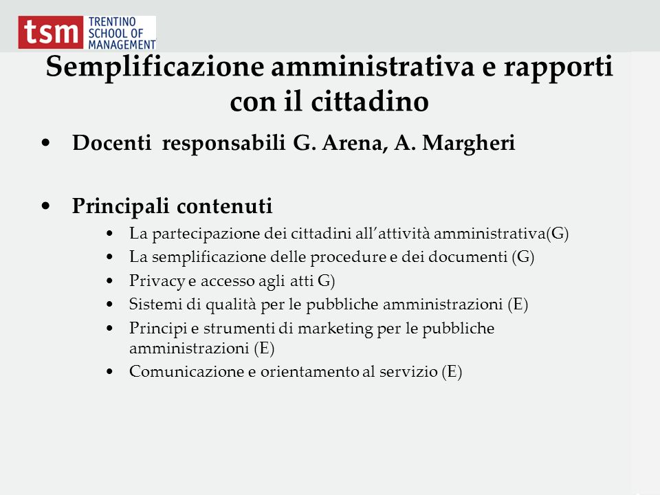 Semplificazione amministrativa e rapporti con il cittadino