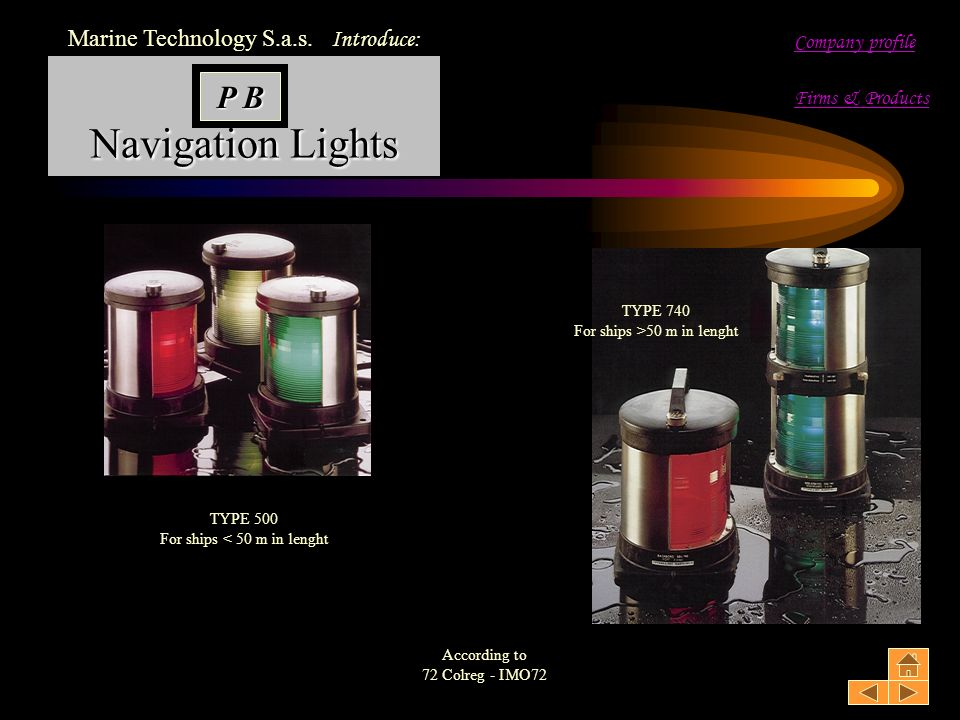 Navigation Lights P B Marine Technology S.a.s. Introduce: