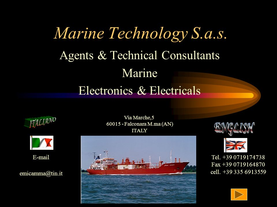 Agents & Technical Consultants Marine Electronics & Electricals