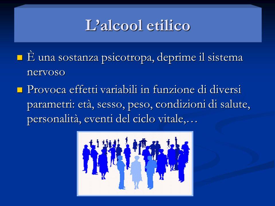 L'alcool etilico È una sostanza psicotropa, deprime il sistema nervoso