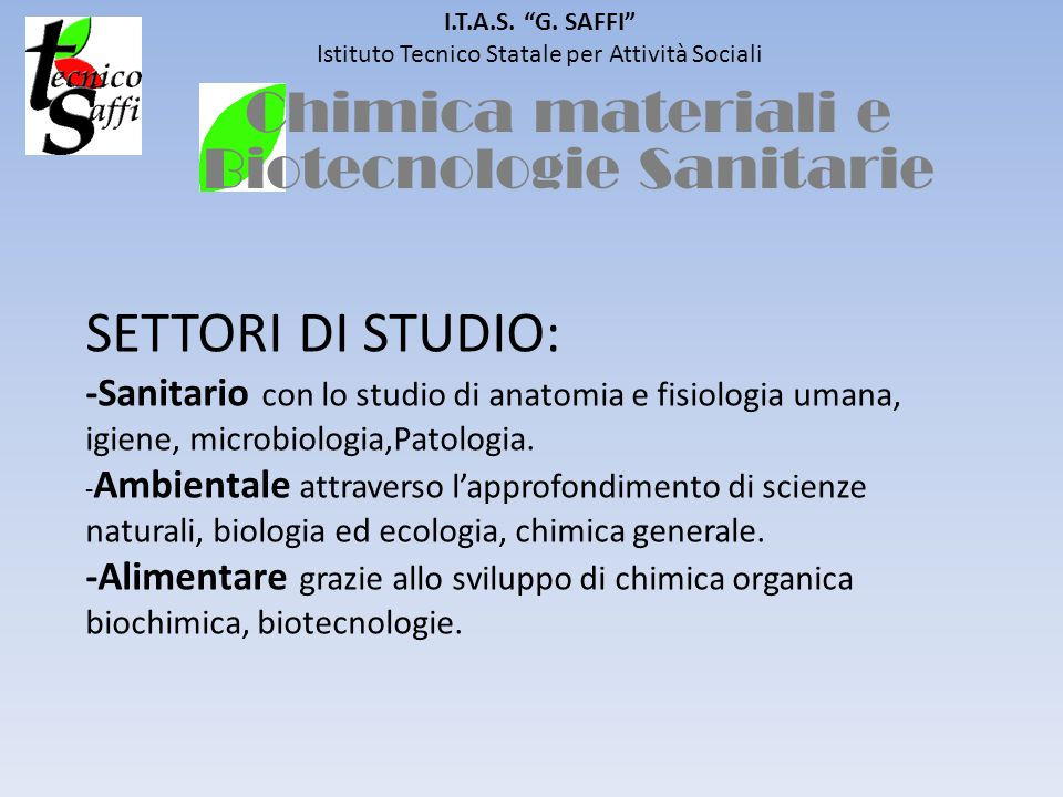 Chimica materiali e Biotecnologie Sanitarie