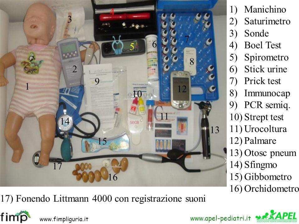 ManichinoSaturimetro. Sonde. Boel Test. Spirometro. Stick urine. Prick test. Immunocap. PCR semiq. Strept test.