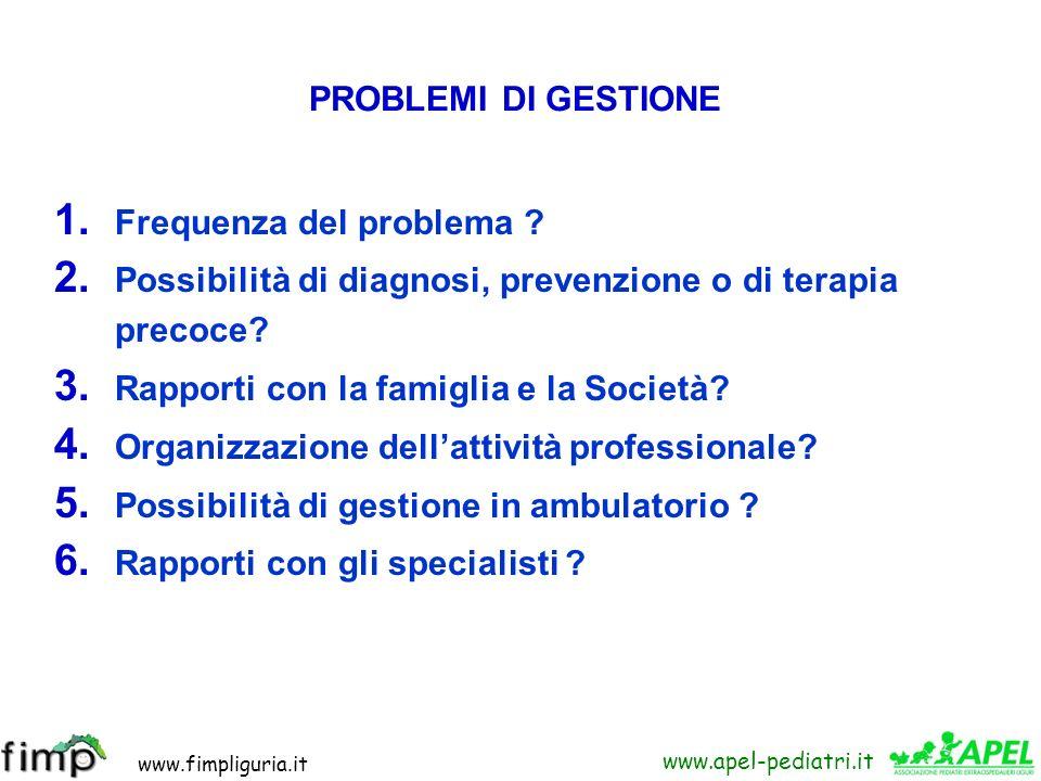 PROBLEMI DI GESTIONE Frequenza del problema Possibilità di diagnosi, prevenzione o di terapia precoce