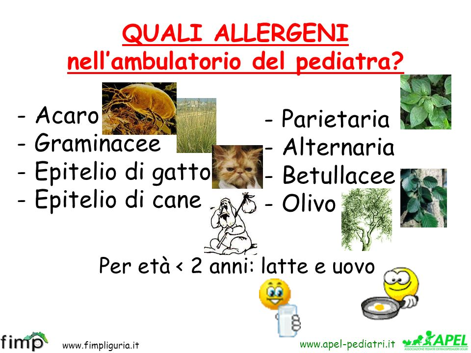 QUALI ALLERGENI nell'ambulatorio del pediatra