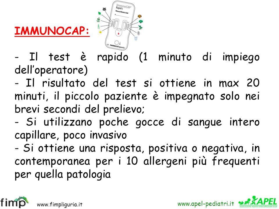 IMMUNOCAP: - Il test è rapido (1 minuto di impiego dell'operatore)