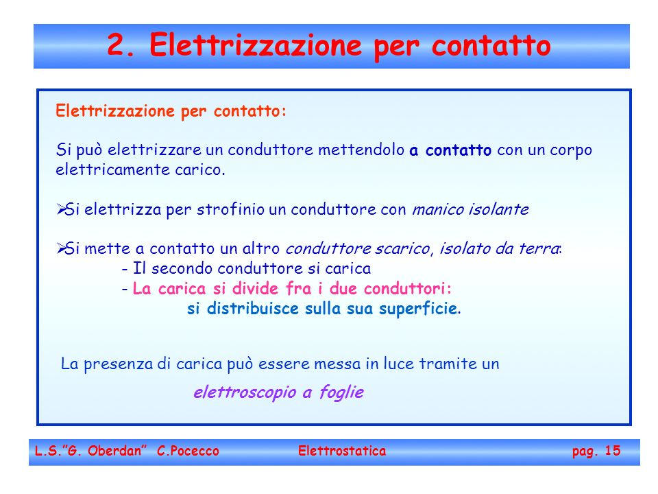 2. Elettrizzazione per contatto