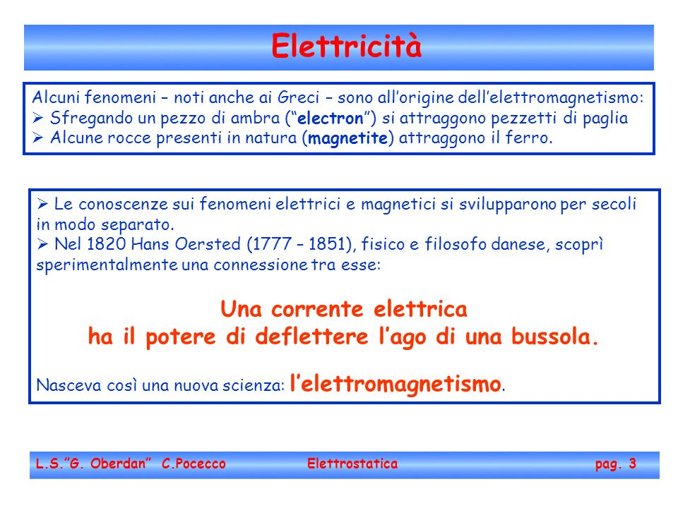 Elettricità Una corrente elettrica