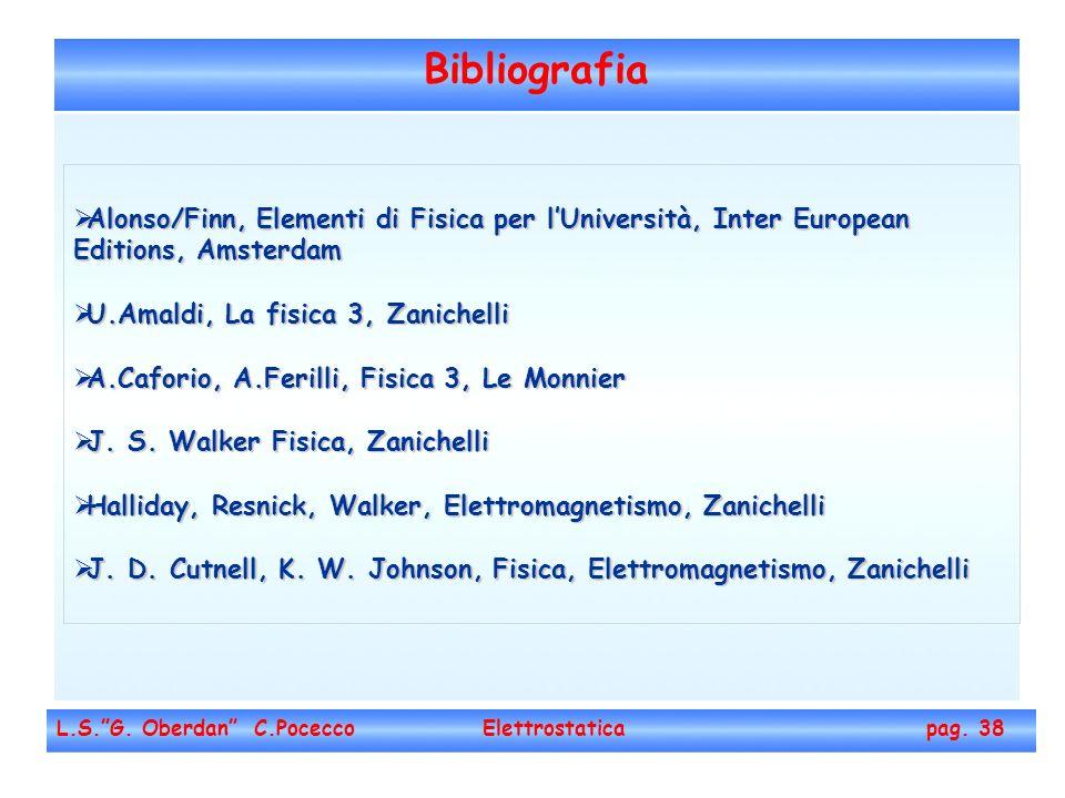 Bibliografia Alonso/Finn, Elementi di Fisica per l'Università, Inter European Editions, Amsterdam. U.Amaldi, La fisica 3, Zanichelli.