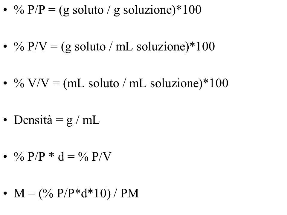 % P/P = (g soluto / g soluzione)*100