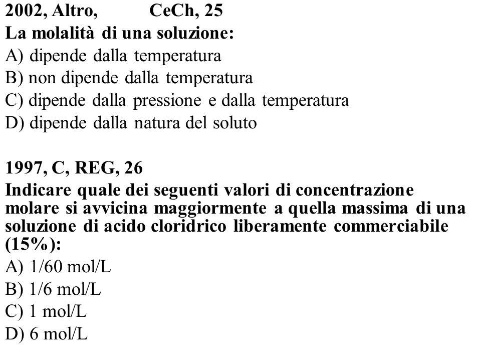 La molalità di una soluzione: A) dipende dalla temperatura
