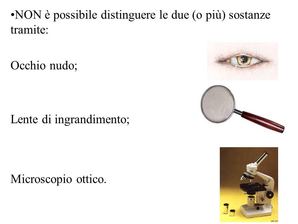 NON è possibile distinguere le due (o più) sostanze tramite: