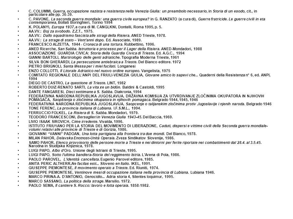 C. COLUMMI, Guerra, occupazione nazista e resistenza nella Venezia Giulia: un preambolo necessario, in Storia di un esodo, cit., in particolare alle pp. 36-39.