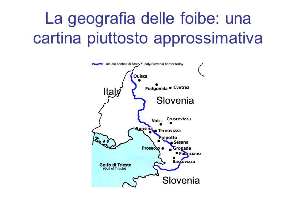 La geografia delle foibe: una cartina piuttosto approssimativa