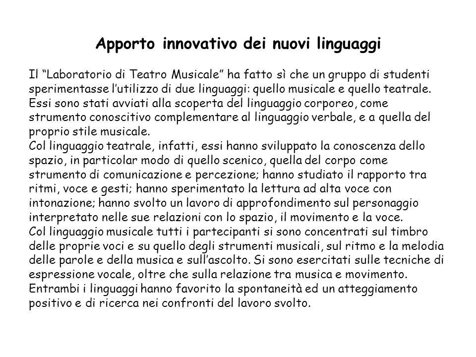 Apporto innovativo dei nuovi linguaggi Il Laboratorio di Teatro Musicale ha fatto sì che un gruppo di studenti sperimentasse l'utilizzo di due linguaggi: quello musicale e quello teatrale.