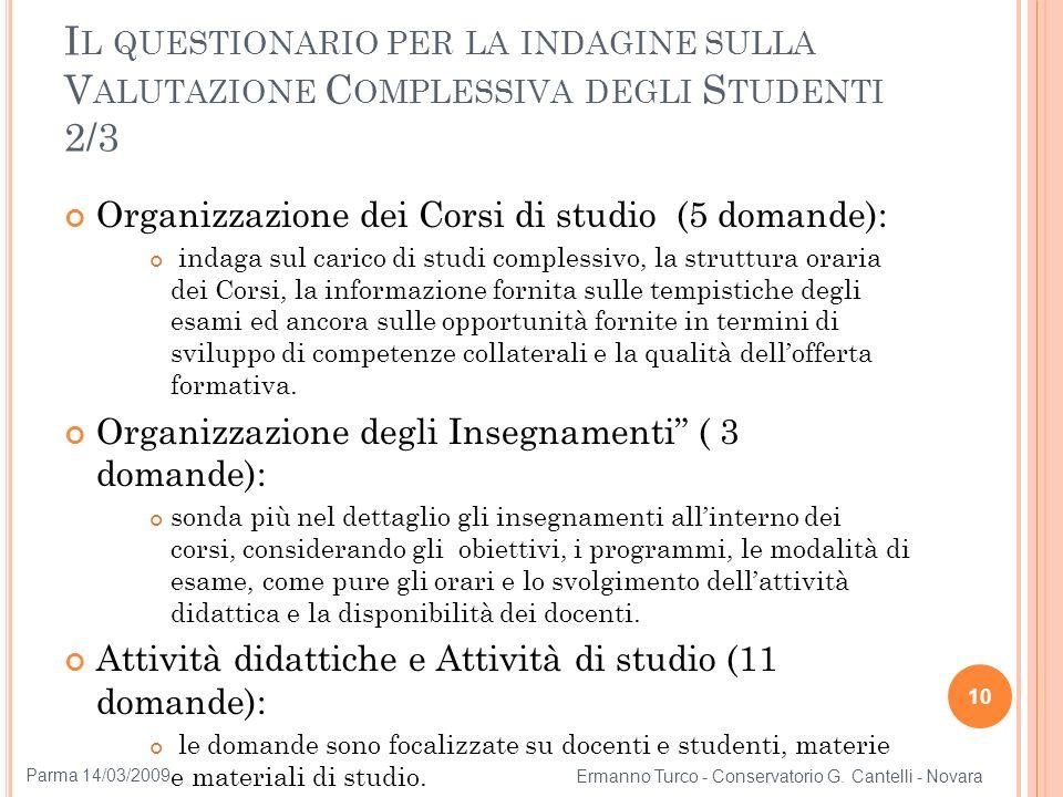 Il questionario per la indagine sulla Valutazione Complessiva degli Studenti 2/3