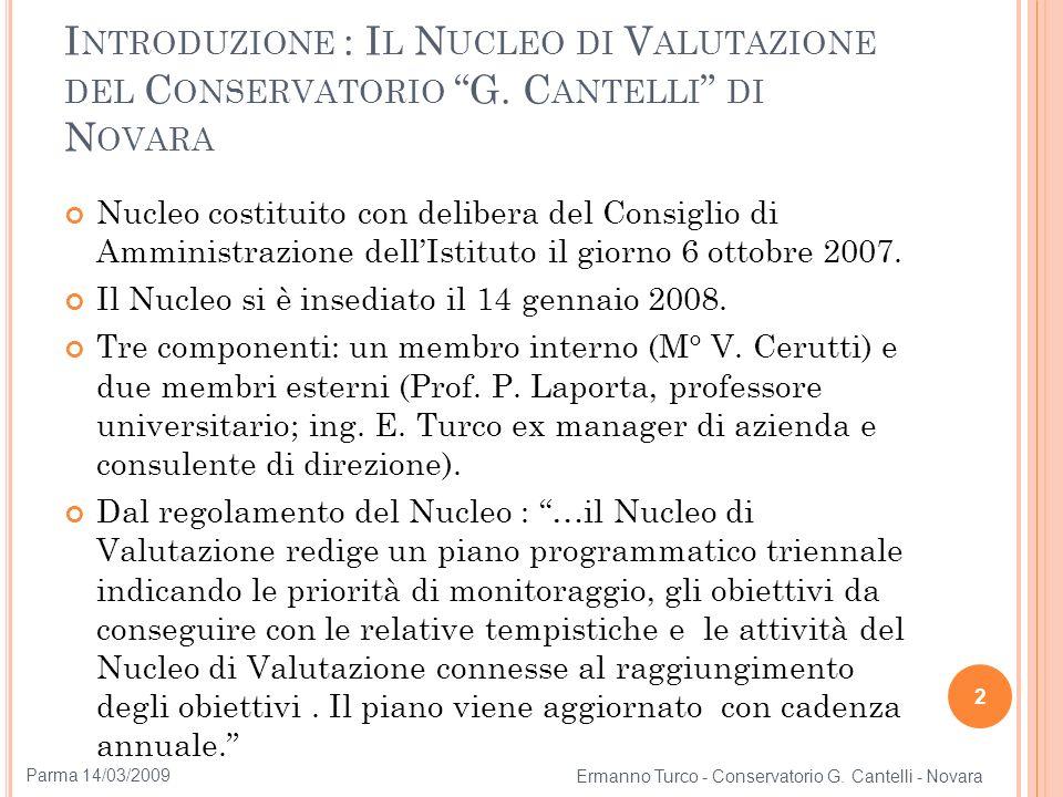Introduzione : Il Nucleo di Valutazione del Conservatorio G