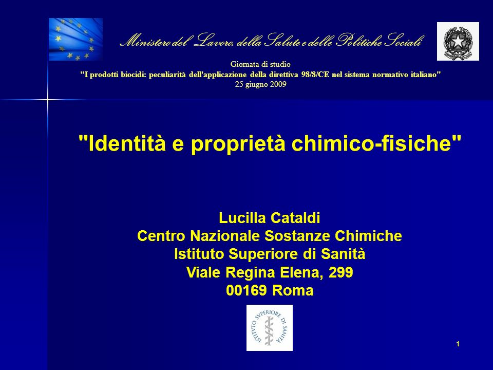 Identità e proprietà chimico-fisiche