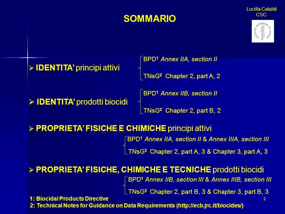 SOMMARIO IDENTITA' prodotti biocidi IDENTITA' principi attivi