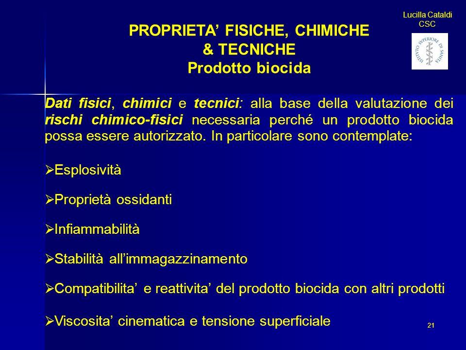 PROPRIETA' FISICHE, CHIMICHE