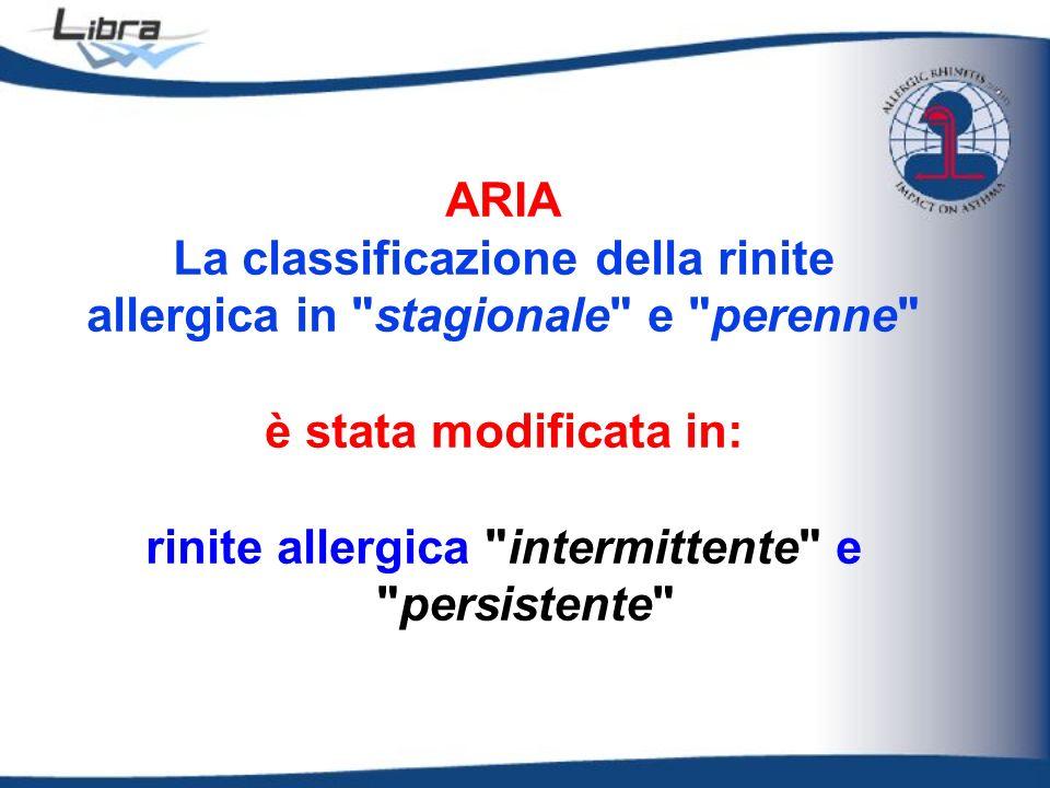 La classificazione della rinite allergica in stagionale e perenne