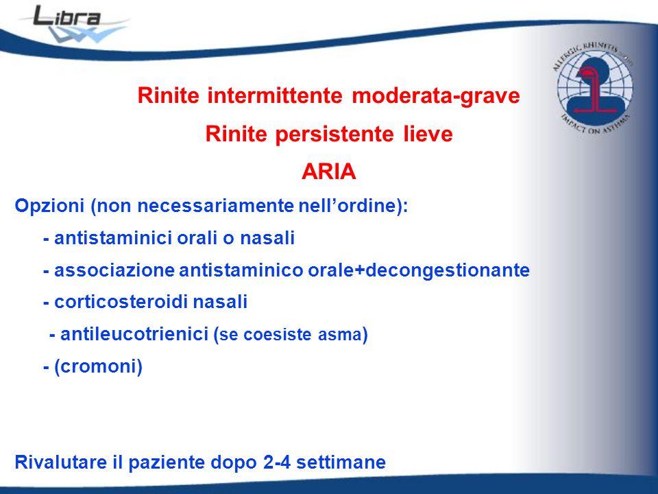 Rinite intermittente moderata-grave Rinite persistente lieve