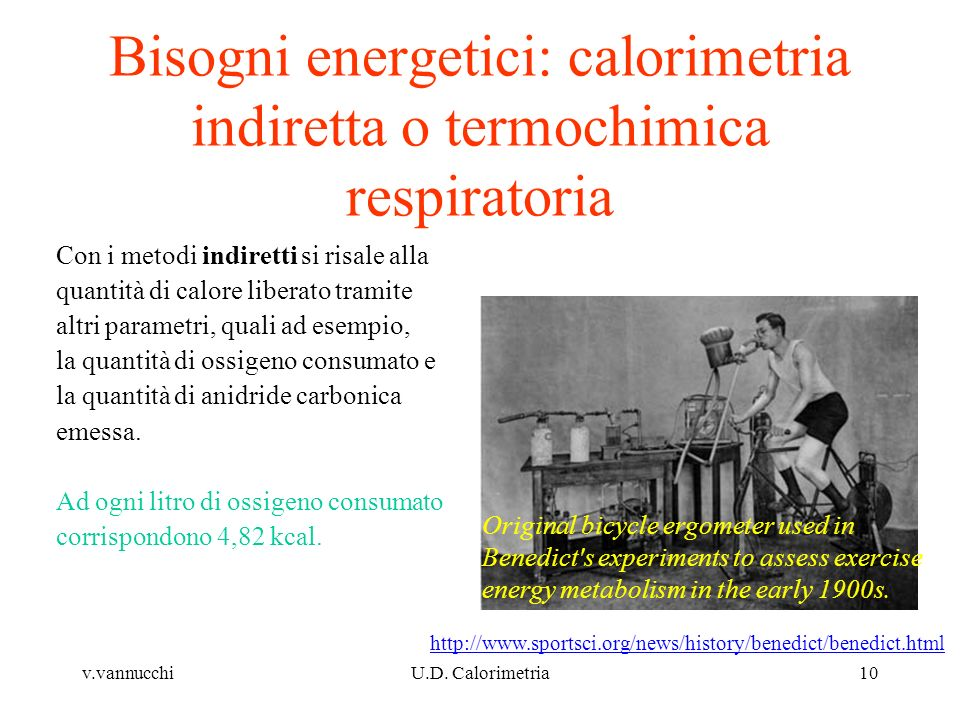 Bisogni energetici: calorimetria indiretta o termochimica respiratoria