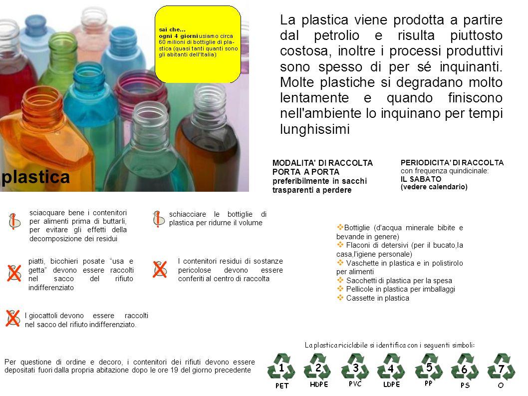La plastica viene prodotta a partire dal petrolio e risulta piuttosto costosa, inoltre i processi produttivi sono spesso di per sé inquinanti. Molte plastiche si degradano molto lentamente e quando finiscono nell ambiente lo inquinano per tempi lunghissimi