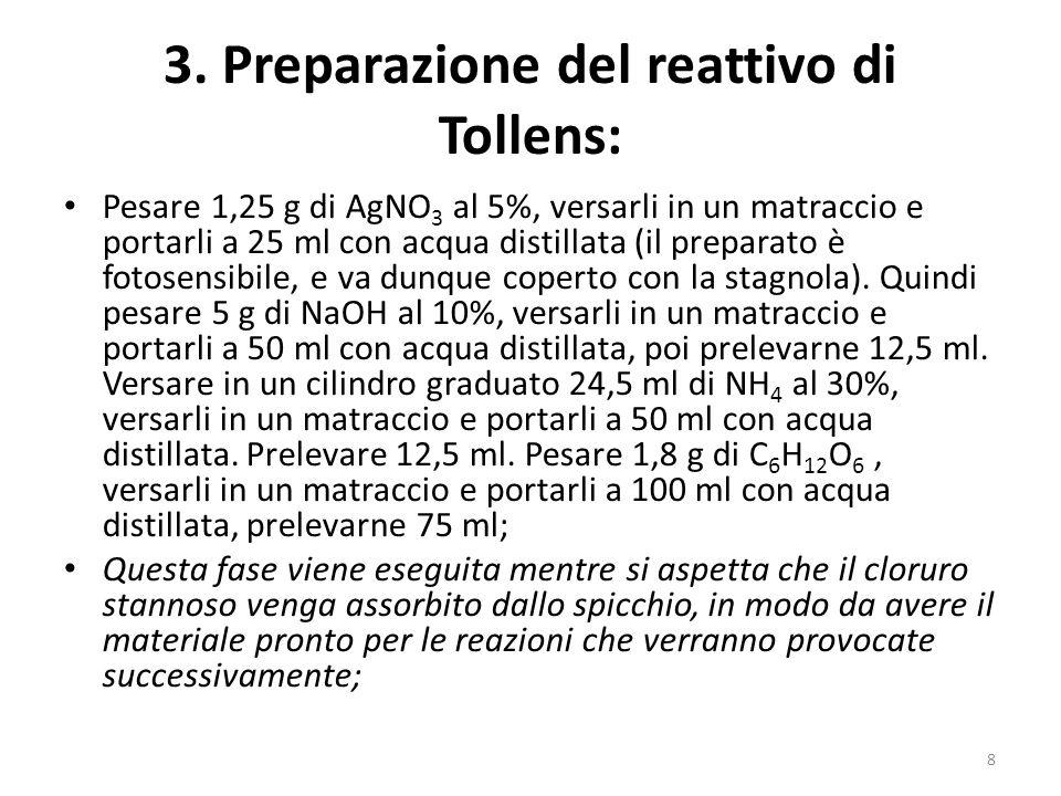 3. Preparazione del reattivo di Tollens:
