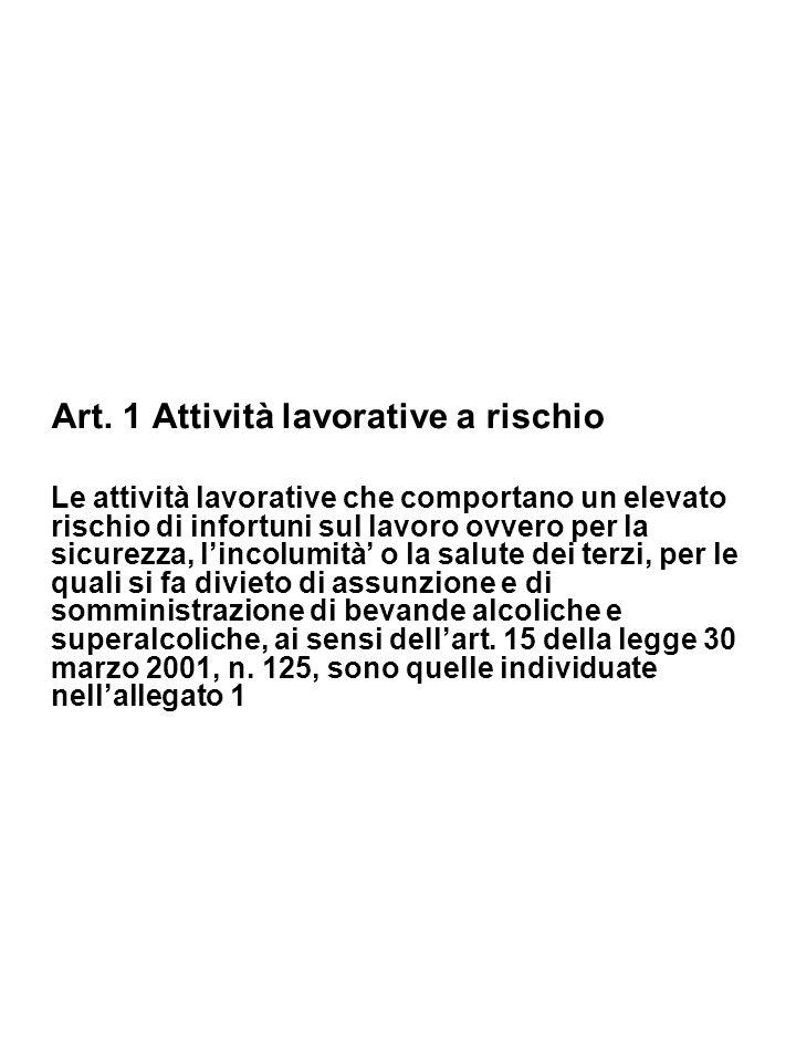 Art. 1 Attività lavorative a rischio