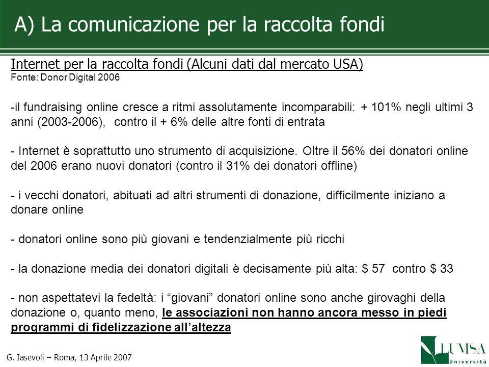 A) La comunicazione per la raccolta fondi