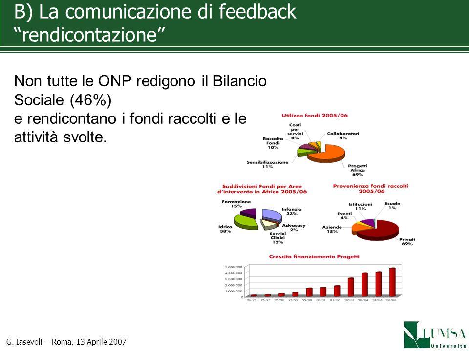 B) La comunicazione di feedback rendicontazione