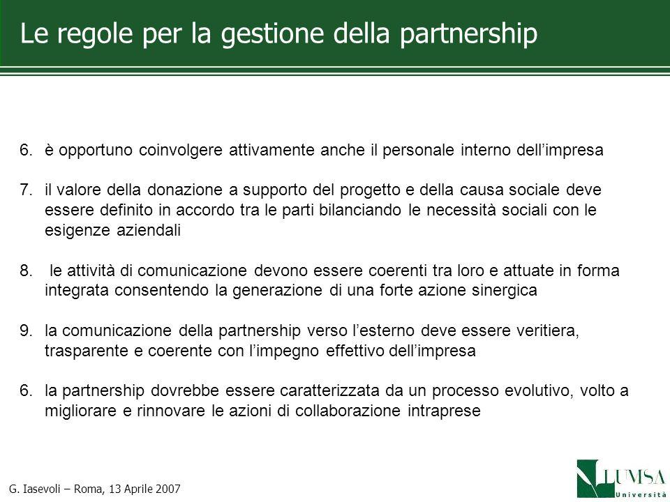 Le regole per la gestione della partnership