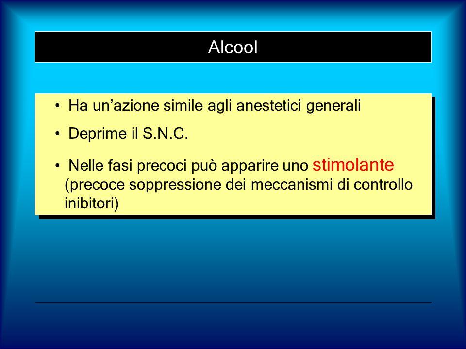 Alcool Ha un'azione simile agli anestetici generali Deprime il S.N.C.
