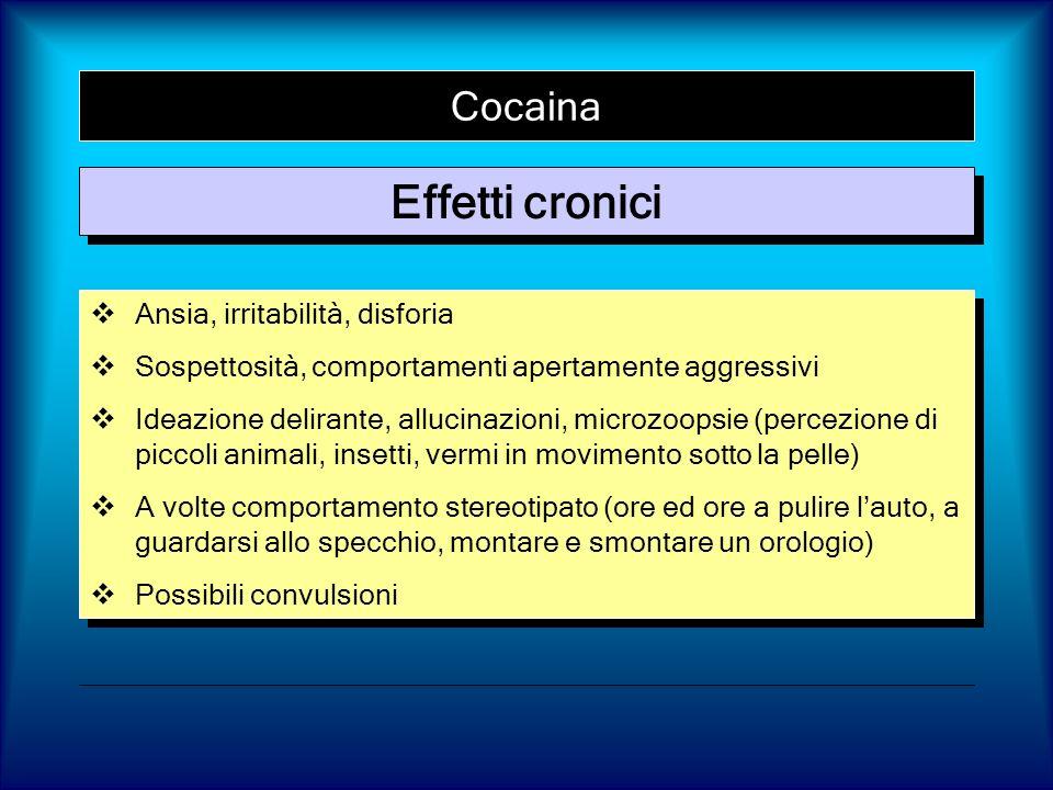 Effetti cronici Cocaina Ansia, irritabilità, disforia