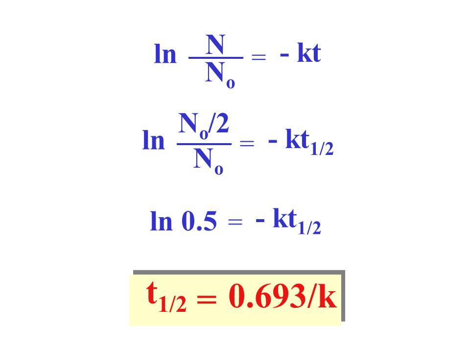 N ln - kt = No No/2 ln - kt1/2 = No - kt1/2 ln 0.5 = t1/2 0.693/k =