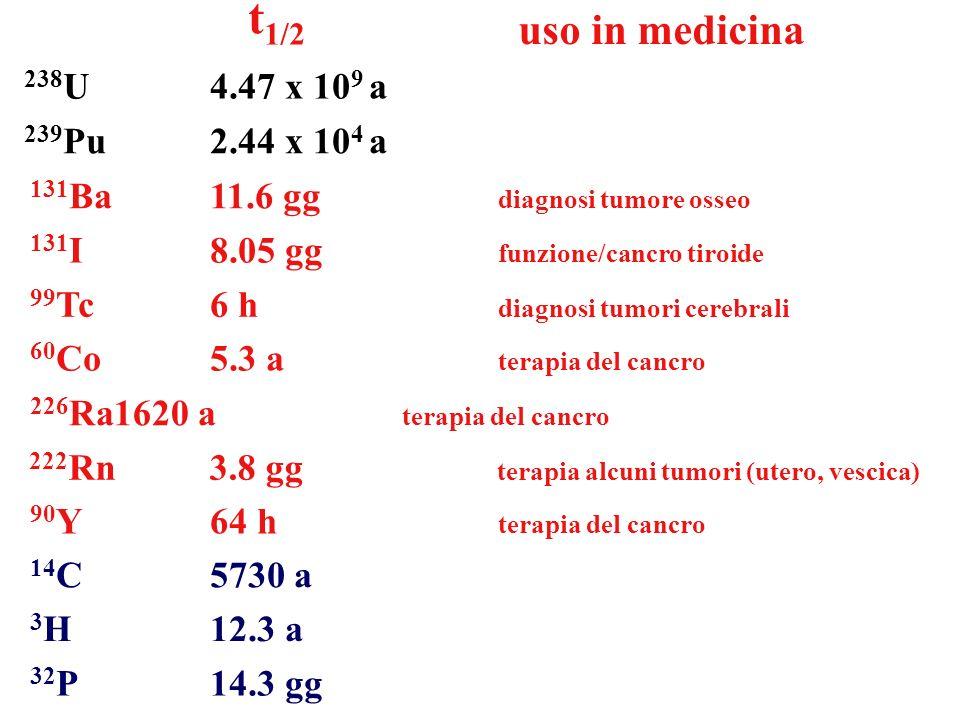 t1/2 uso in medicina 238U 4.47 x 109 a 239Pu 2.44 x 104 a