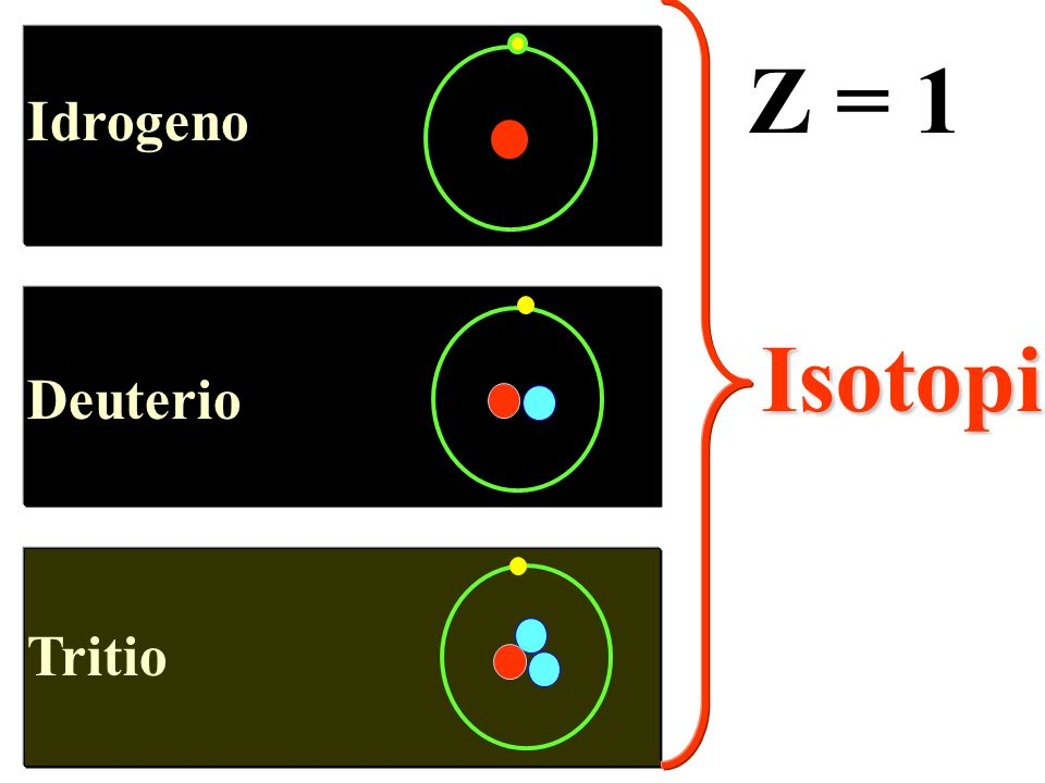 Idrogeno Deuterio Tritio Z = 1 Isotopi