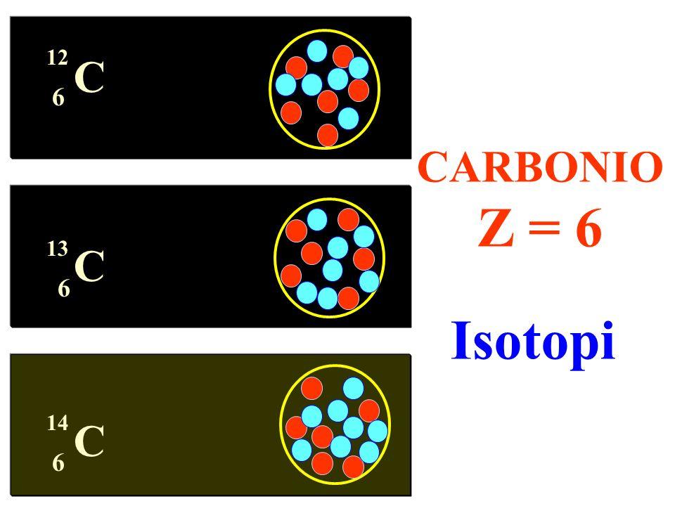 C 6 12 CARBONIO Z = 6 Isotopi 6 13 6 14