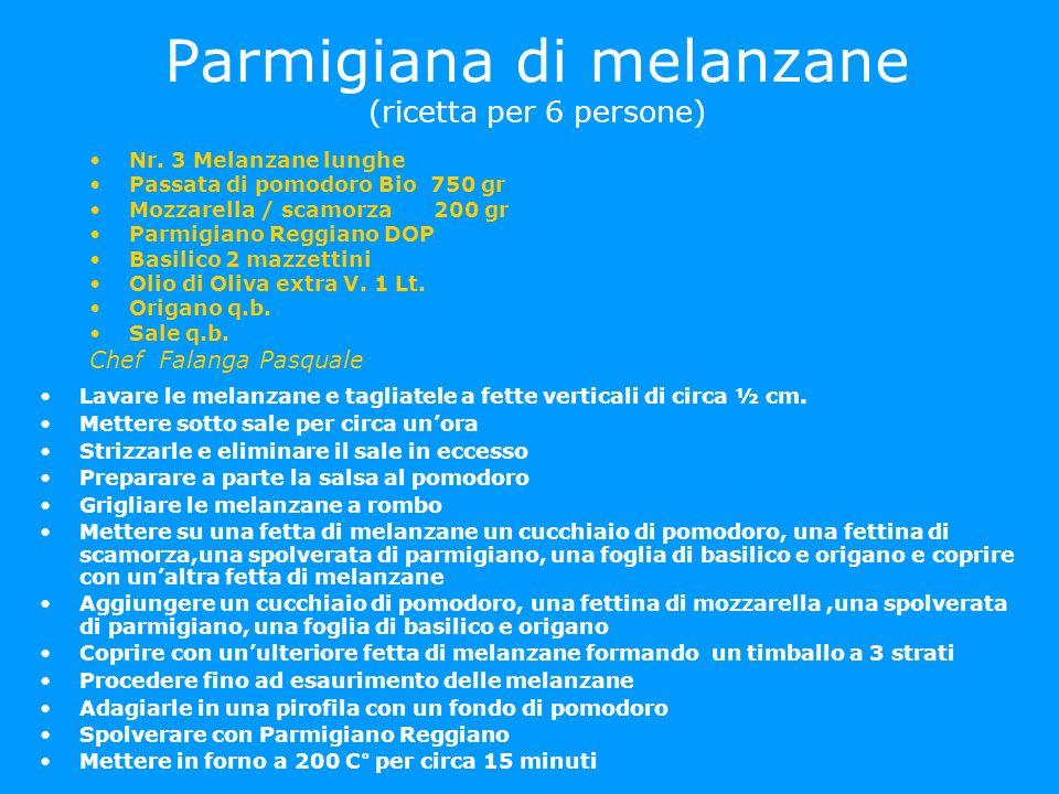 Parmigiana di melanzane (ricetta per 6 persone)