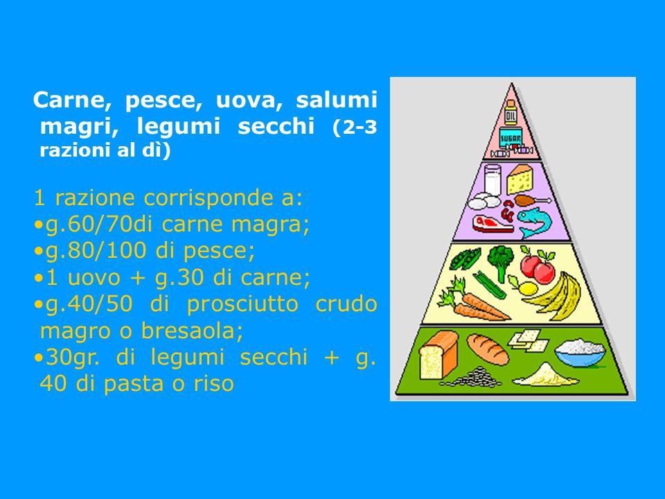 Carne, pesce, uova, salumi magri, legumi secchi (2-3 razioni al dì)