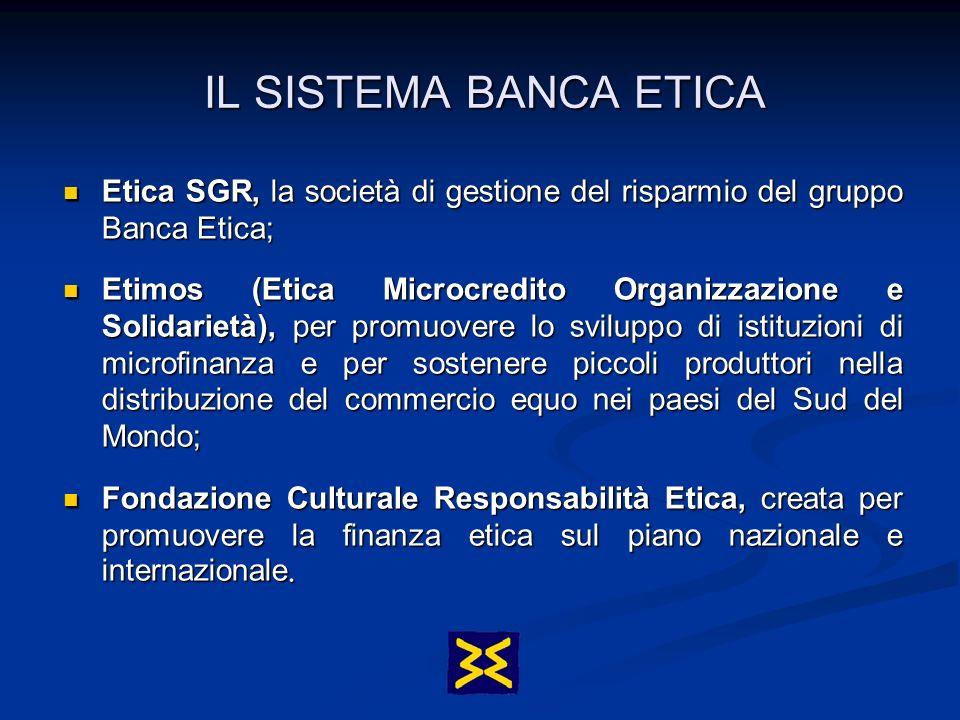 IL SISTEMA BANCA ETICA Etica SGR, la società di gestione del risparmio del gruppo Banca Etica;
