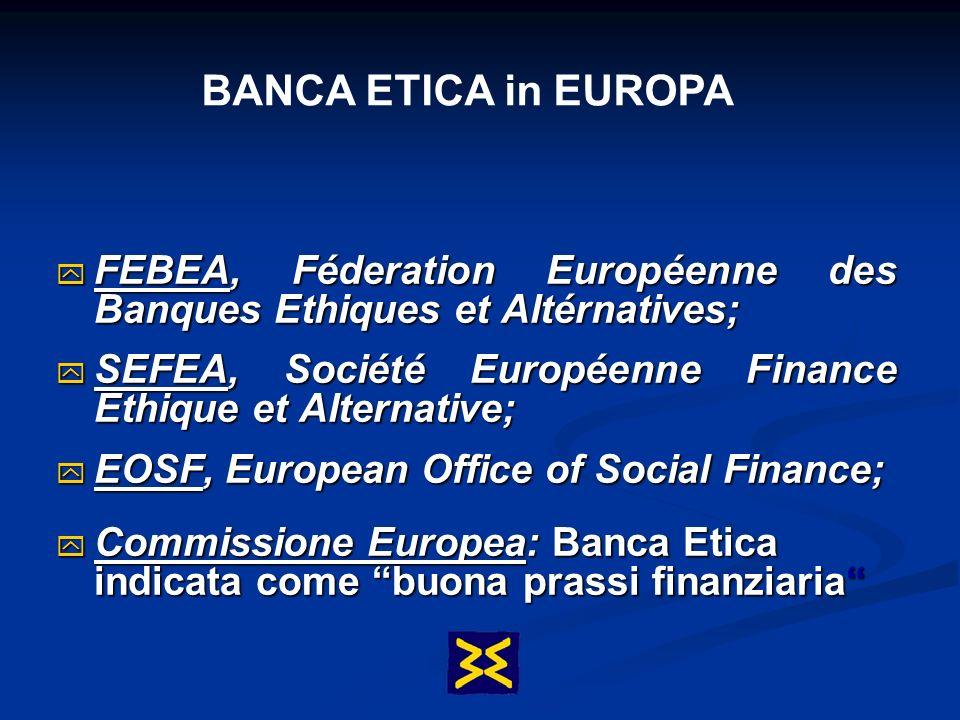 BANCA ETICA in EUROPA FEBEA, Féderation Européenne des Banques Ethiques et Altérnatives; SEFEA, Société Européenne Finance Ethique et Alternative;